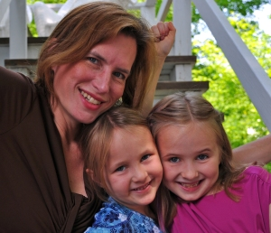 Author and daughters